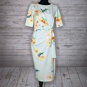 asos • floral side knot bodycon midi dress